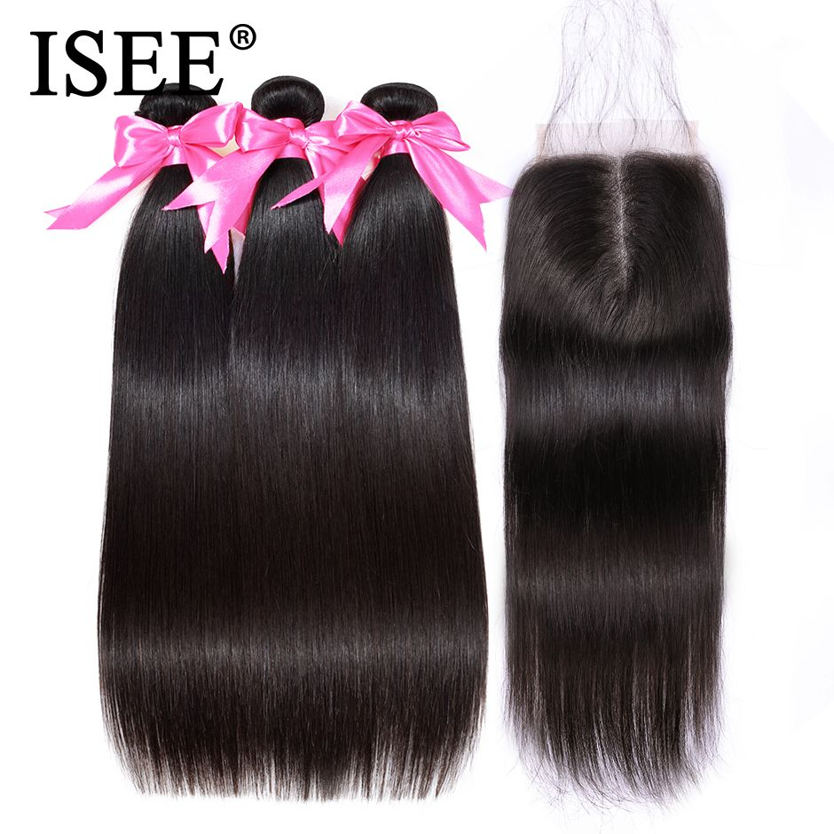 ISEE Brazilian Straight Hair Bundles With Closure Virgin Human Hair Bundles With Closure 3 Bundles Straight Hair With Closure