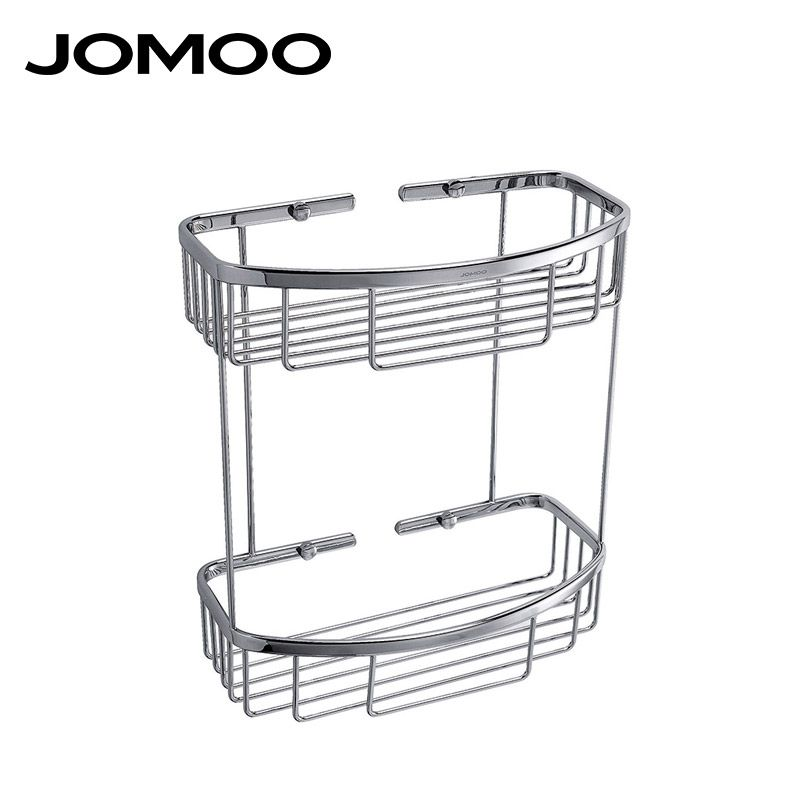 JOMOO Brass Chrome bathroom corner shelf basket Bathroom Shelves wall mounted Shower Shampoo Soap Cosmetic Bathroom Accessories