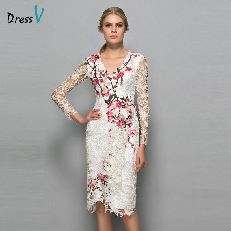 Dressv Cuello En V manga larga vestido de cóctel vaina apliques de encaje de flores hasta la rodilla vestido de cóctel elegante vestido de fiesta formal