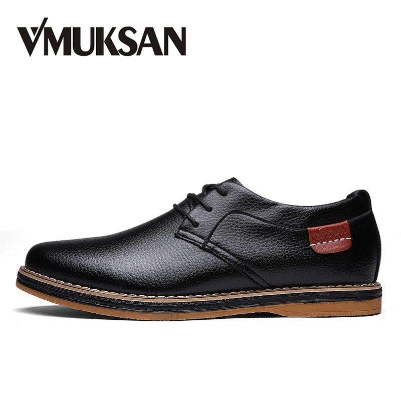 VMUKSAN мужская обувь черный Полиуретан Кожа туфли мужские Круглый носок марочный итальянский Ботинки кожаные мужские