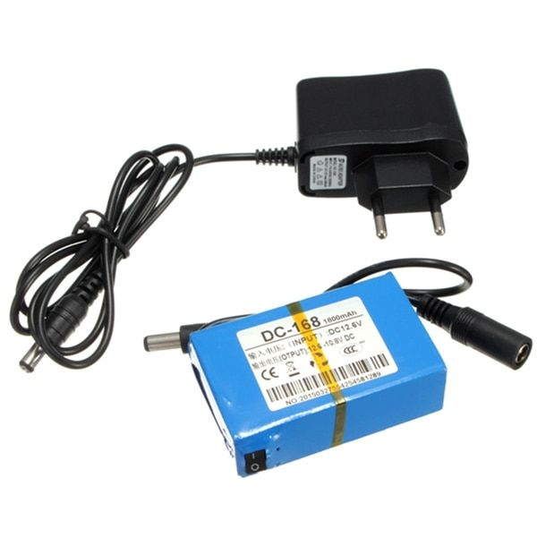 Super Rechargeable Protable Lithium-ion Battery EU Plug for DC 12V 1800mAh