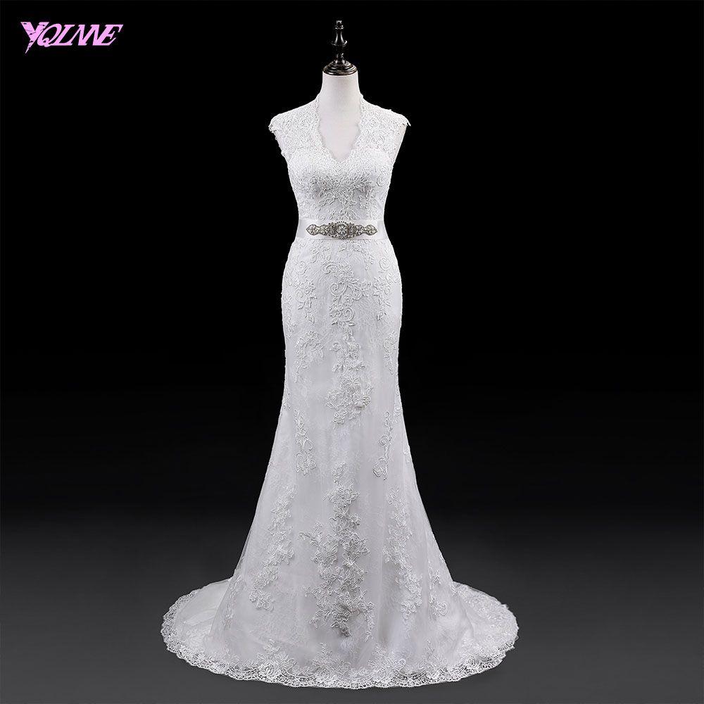 YQLNNE 2018 Sleeveless Mermaid Wedding Dress V Neck Back Zipper Buttons Court Train Bridal Dresses