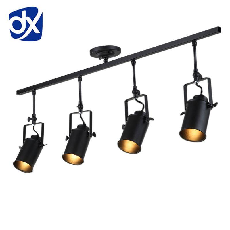 DX vintage Loft Ceiling Light 1/2/3/4 heads creative loft <font><b>track</b></font> lamp cloth shop coffee bar light clothing TV bar backdrop lamp