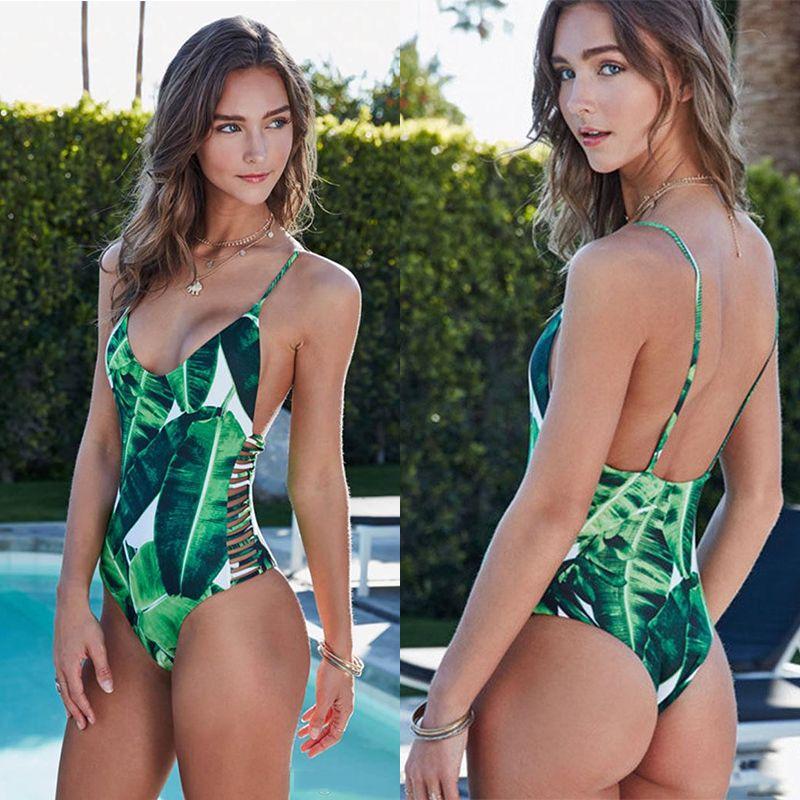 Sexy 1 pc D'une Seule Pièce Maillot de Bain 2018 Trikini Maillots De Bain Femmes Green Leaf Imprimer Bandage Monokini String Triquini Creux à la Baignade costume
