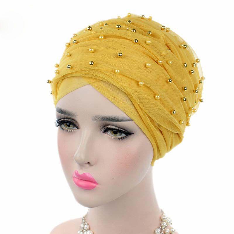 Women Headscarf Muslin Luxury Beaded Mesh Long Head Wrap Turban Hijab Muslim Headband Long Tube Head Scarf Lady Turbante New