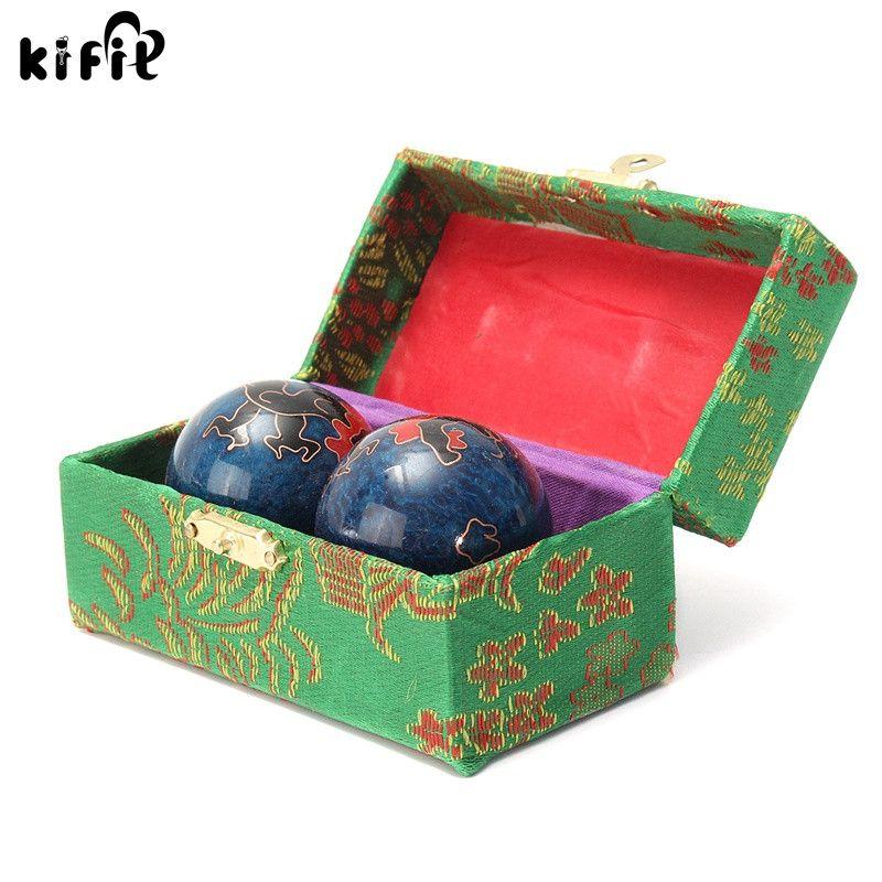 KIFIT 2 Pcs Chinois Cloisonné Balle Anti-Stress D'exercice Main Poignet Solide Chrome Baoding Balle Exercice de Santé Thérapie Main Boule De Massage