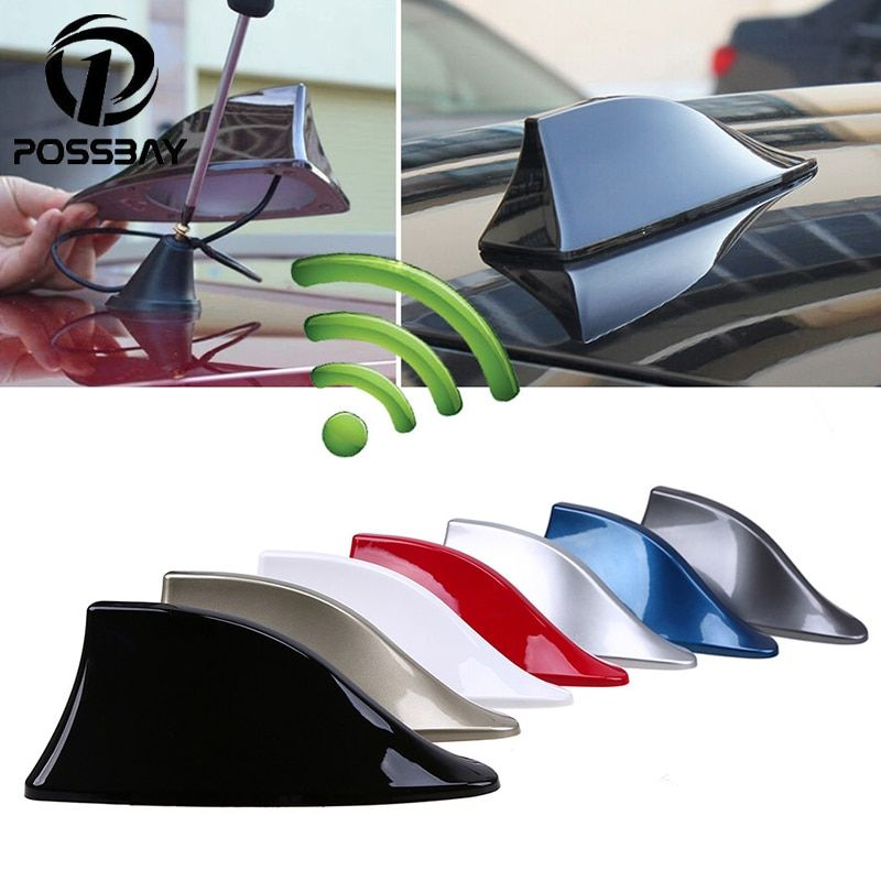 POSSBAY Car Shark Fin Antenna Auto Radio Signal Aerials Roof Antennas for BMW/Honda/Toyota/Hyundai/VW/Kia/Nissan Car Styling