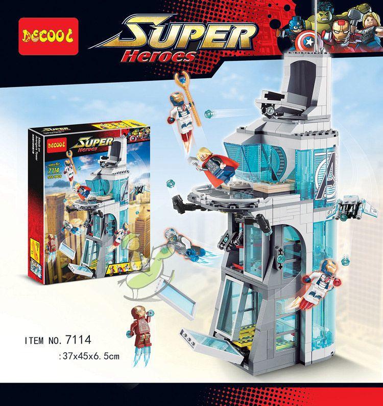 Bausteine 7114 Kompatibel 76038 Marvel Super Heroes Figuren Avenger Angriff auf Avengers Turm Pädagogisches Spielzeug