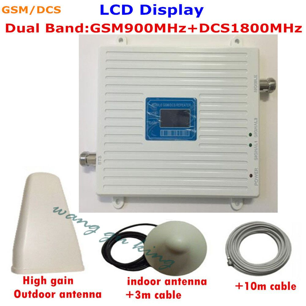 LCD Display ! 4G DCS 1800MHz 2G GSM 900Mhz Mobile Phone Signal Booster 900 Mhz 1800 Mhz Signal Repeater Amplifier Kits Antenna