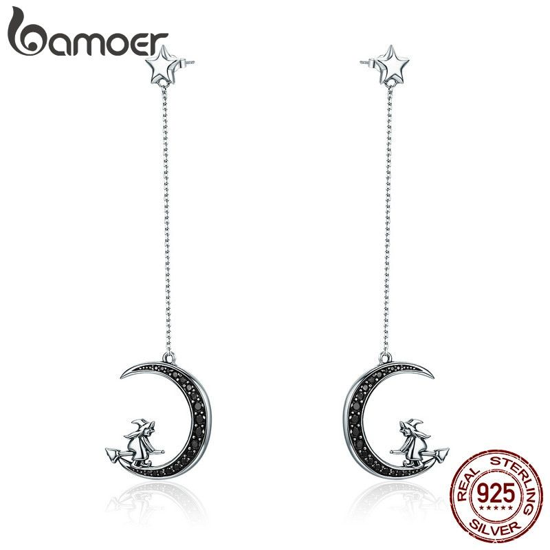 BAMOER Real 925 Sterling Silver Magic Witch in Moon Star Black CZ Long Drop Earrings for <font><b>Women</b></font> Sterling Silver Jewelry SCE287