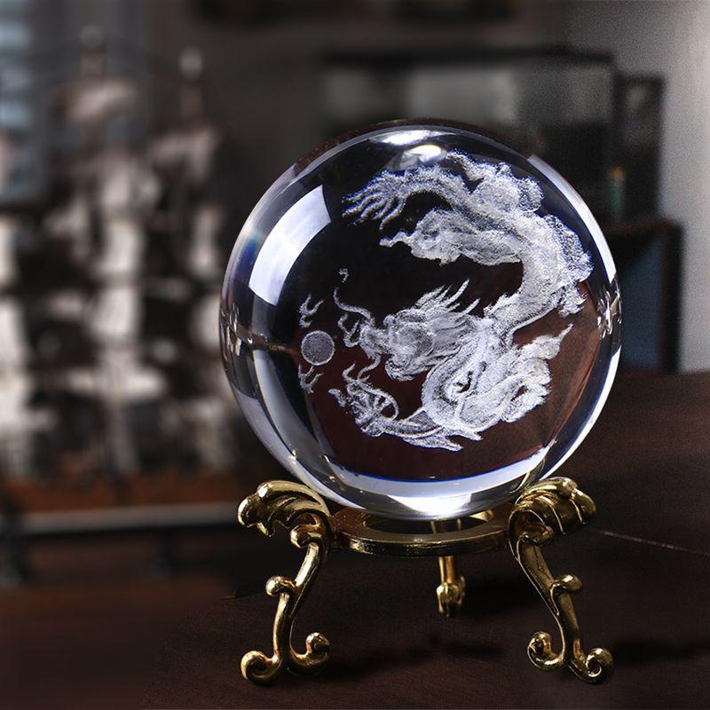 60mm 3D Laser gravé K9 cristal Dragon boules pur verre clair Fengshui Dragon balles presse-papiers pour la décoration du bouddhisme à la maison