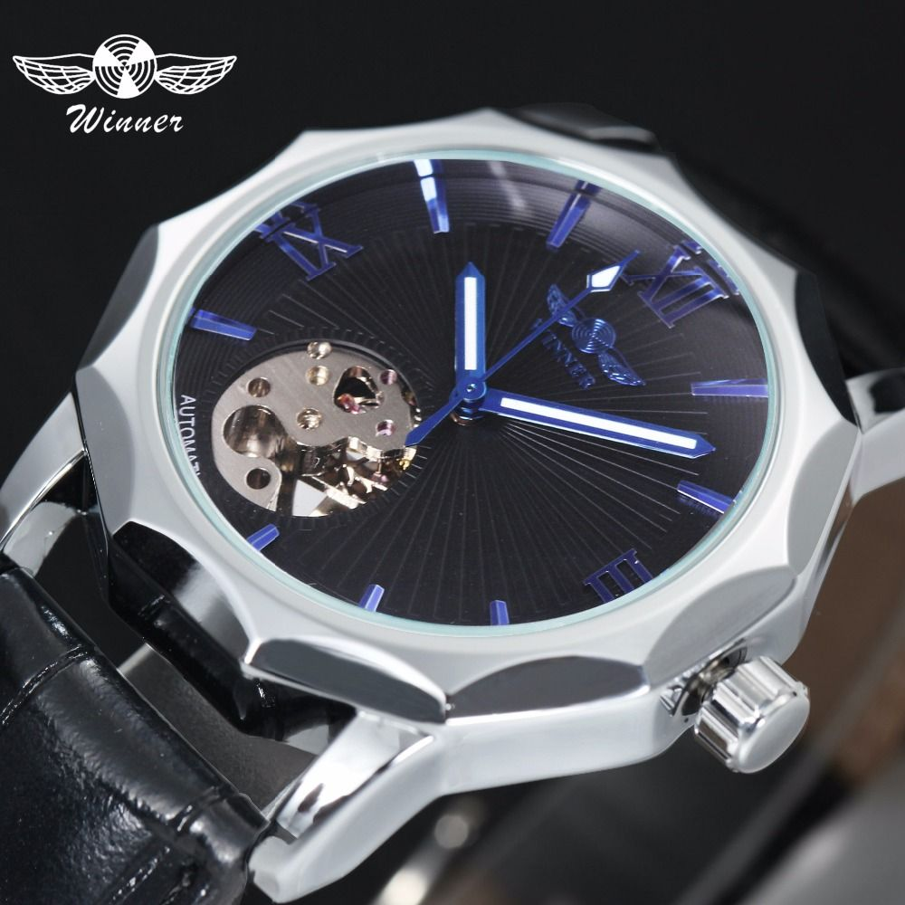 Winner Blue Exotic Dodecagon Design Skeleton Dial Men Watch Geometry Top Brand Luxury Automatic Fashion Mechanical Watch + BOX