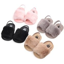2019 Summer Style New Fashion Faux Fur Baby Girls Summer Infant Bebe Shoes Cute Infant Toddler Slippers Baby Moccasins