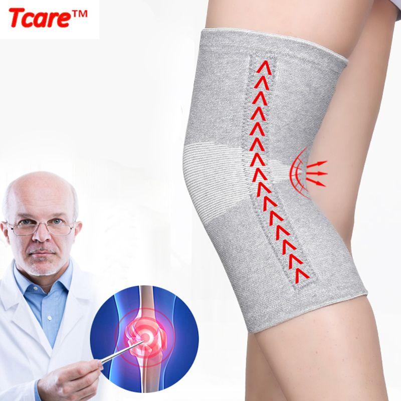Tcare 1 paire chaud élastique respirant genou soutien orthèse Fiber de bambou soins de santé genouillère printemps séjour genouillères