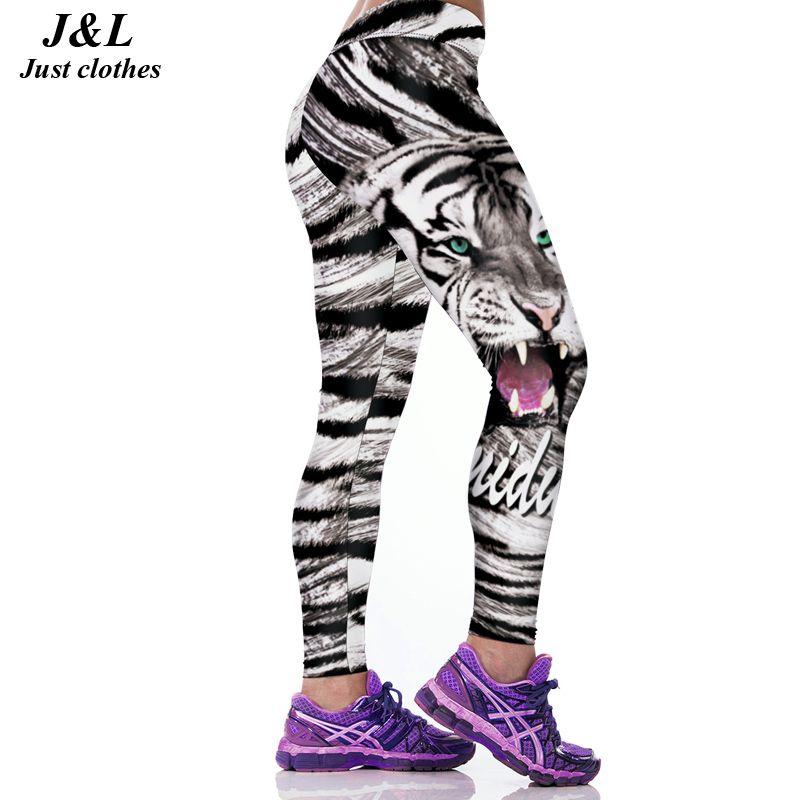 JLZLSHONGLE Super Nouveau Sexy Femmes Fitness Leggings D'entraînement Pantalon Tigre 3D Impression 22 Styles Push-Up Élastique Mince Legging Leggins
