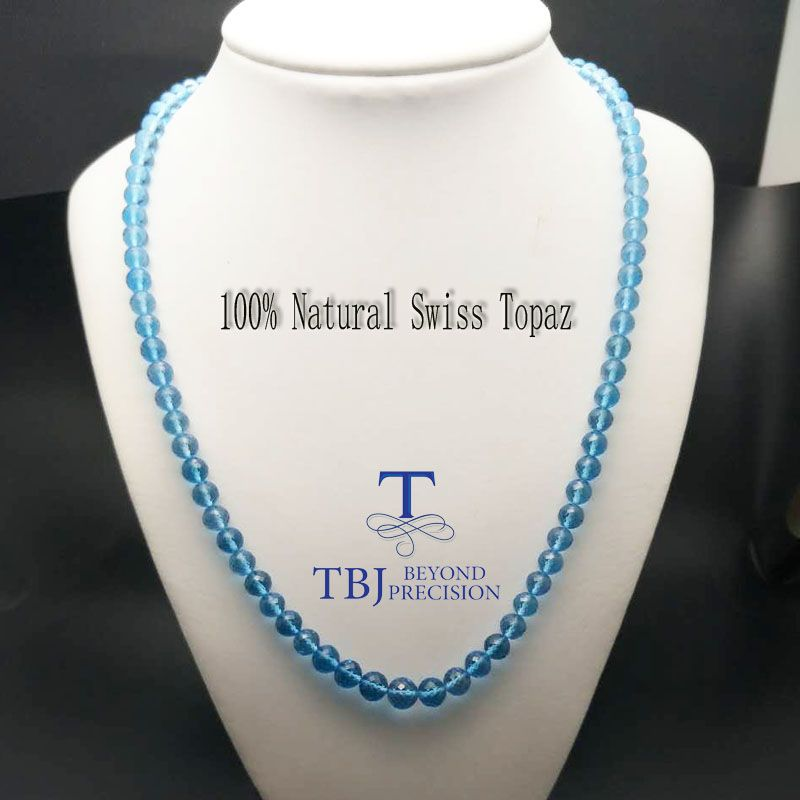 TBJ ,100% Natural swiss blue topaz neacklace with 925 sterling silver clasp ,best gift for mother's day with gift box