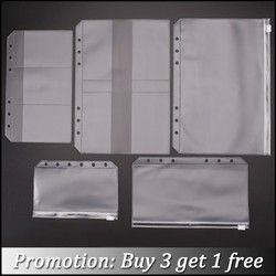 Transparent PVC Storage Card Holder For A5 A6 A7 Binder Rings Notebook 6 Hole Zipper Bag Pouch Diary Planner Accessories