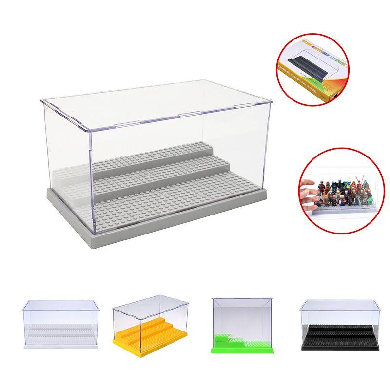 3 шагов витрины/коробка пылезащитной витрина серый базы для лего акрил пластиковая коробка дисплея случае 25.5x15.5x13.8 см 5 видов цветов