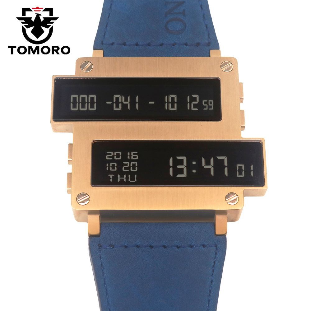 TOMORO 2017 New Original Design ONE LIFE Series Top Men Countdown Hours LED Clock  316T Steel Case Cow Leather Limited Watches