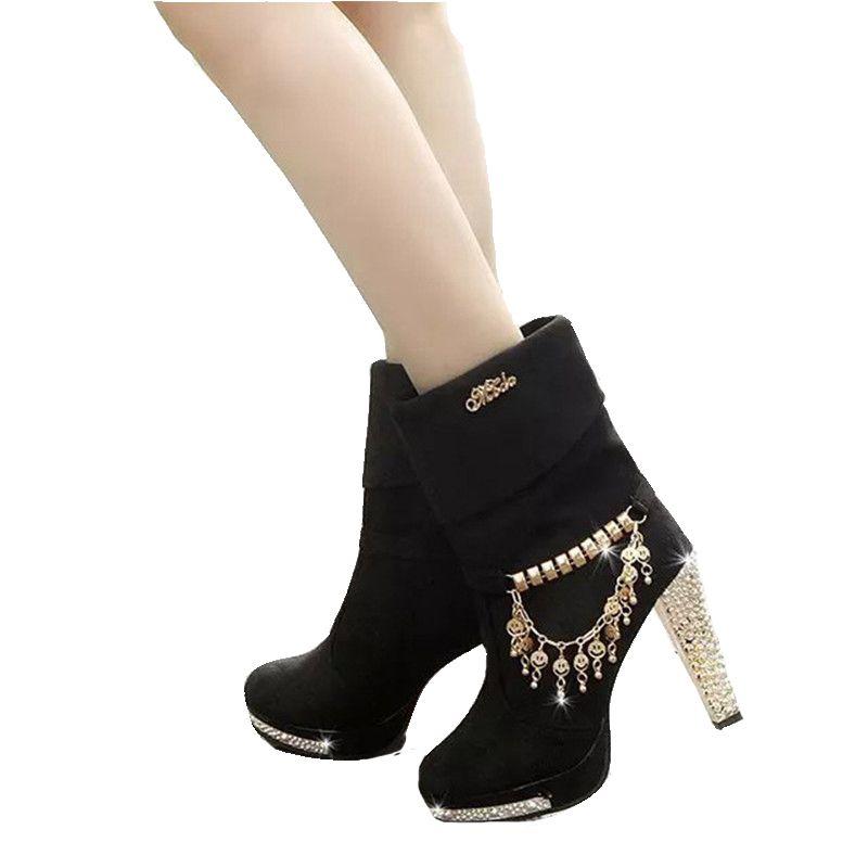 QSR chaussures pour femmes 2019 automne femme bottes femme solide métal gland talons hauts avec grande botte mode Martin bottes