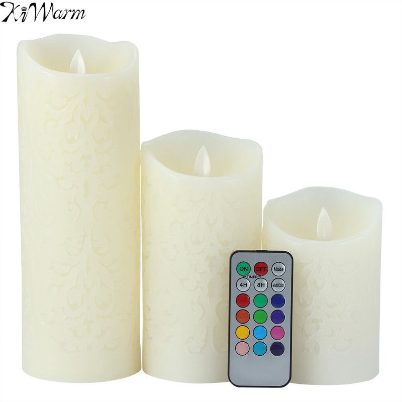 KiWarm Dancing Flame LED Candles with <font><b>Remote</b></font> Control Wax Candle Night Light Wedding Christmas Dinner Decor 13 kinds of Lights