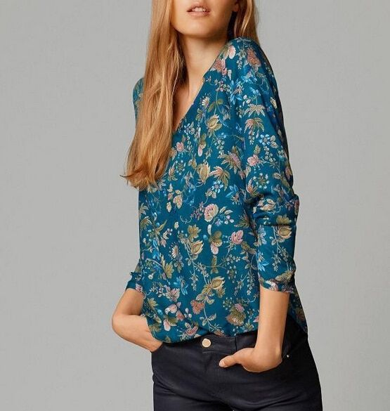 Blusas Femininas 2015 nouvelles femmes mode imprimé Floral en mousseline de soie Blouse chemises à manches longues col en v été hauts chemises haut décontracté