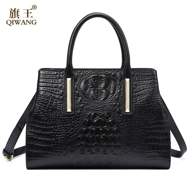 QIWANG Real Leather Women Handbag 2017 New Bag Handmade Women Crocodile Cow Tote Bag for Women High Quality leather Bag