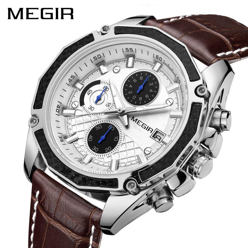 MEGIR Quartz officiel hommes montres mode en cuir véritable chronographe montre horloge pour hommes doux hommes étudiants Reloj Hombre 2015