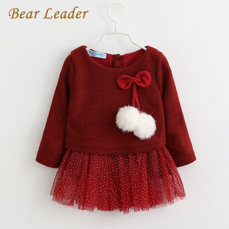Bear Leader/Платье для маленьких девочек 2018 Новинка весны с длинными рукавами платье принцессы детская одежда с бантом Платья для женщин для 6-24 м...