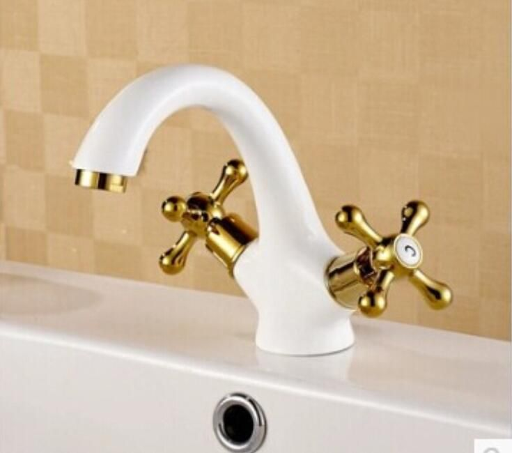 new arrival high quality brass gold and white finish bathroom basin faucet sink faucet with cross handle