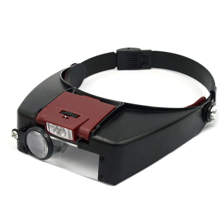 Behogar Loupe Microscope Helmet Style Magnifier Glass Glasses vergrootglas Lupas Con Luz LED light Reading or Repair Use Tools