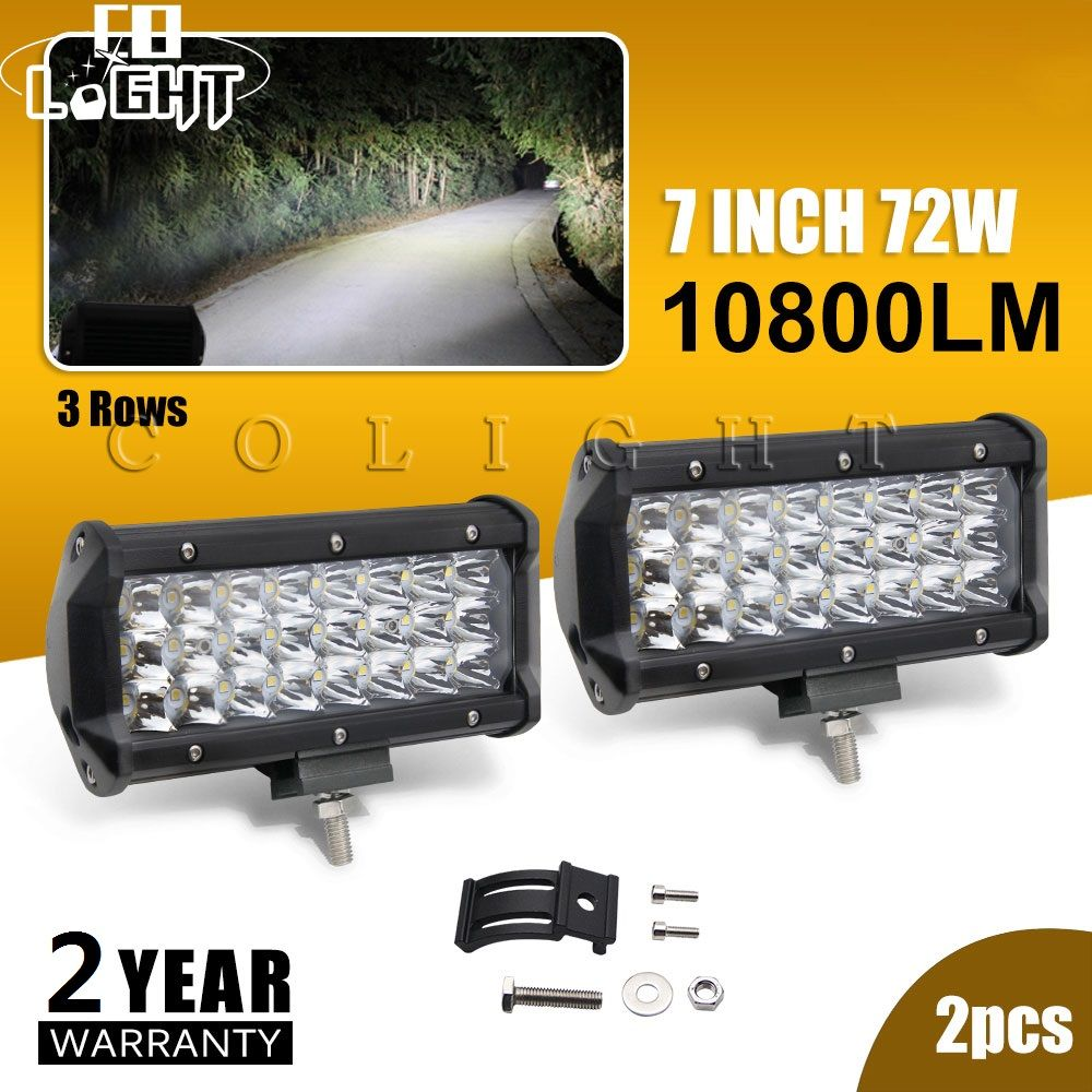 CO LIGHT 2Pcs Light Emitting Diode 72W 7 Inch Running Lights Led Work Lights for Auto 4X4 Mining Farm 12V 24V Lada Kamaz