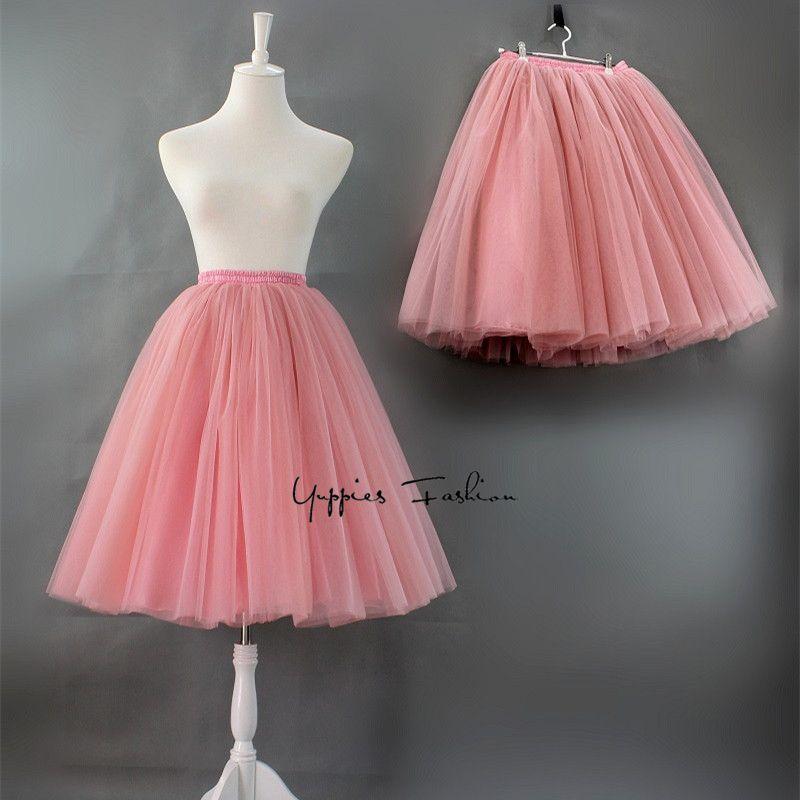 Calidad 7 Capas 65 cm Largo Maxi Falda de Tul Elegante Plisado Tutú faldas mujer Saias Faldas Para Mujer de La Vendimia Lolita Petticoat Jupe