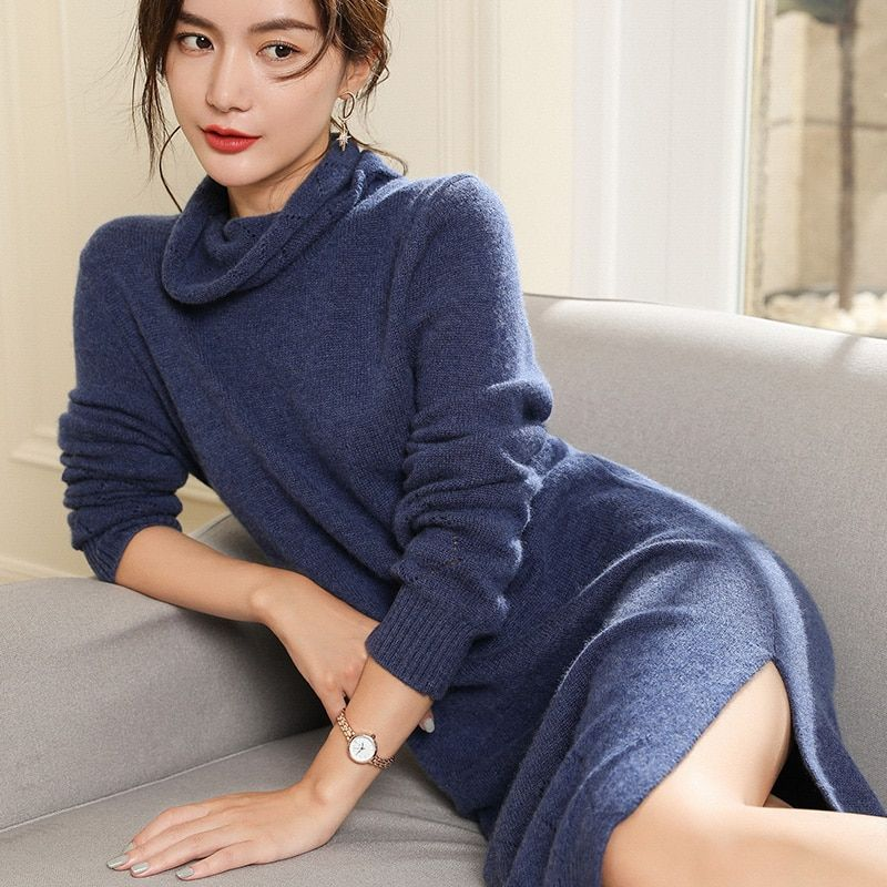 Women Sweater Dresses 100% Pashmina Knitting Jumpers Turtleneck Long Style Thick Pullovers Winter New Arrival Pure Cashmere Tops
