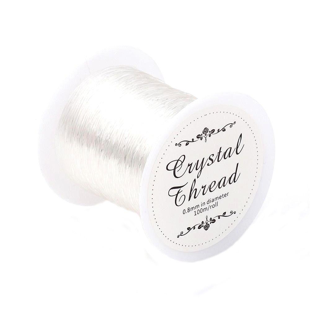 Pandahall 100 M Transparent Stretch élastique perles corde claire cordon/chaîne/fil bricolage pour la fabrication de bijoux Bracelet & Necklace0.8mm