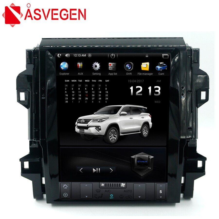 Asvegen Car Stereo Radio For Toyota Fortuner 2016 2017 Vertical 12.1'' Android 6.0 Quad Core Multimedia Player GPS Navigation