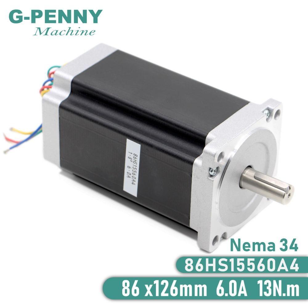 NEMA 34 CNC moteur pas à pas 86X155mm 13 N. m 6A arbre 14mm nema 34 moteur pas à pas 1700Oz-in pour CNC machine de gravure imprimante 3D