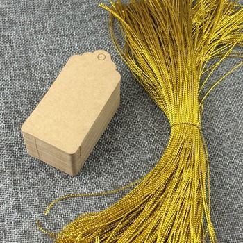 200pcs Brown Hang Tags with Gold Rope, Kraft PriceTags/Gift Tag Packaging Labels Blank Paper Cards For Jewelry/Box/Notebook/gift
