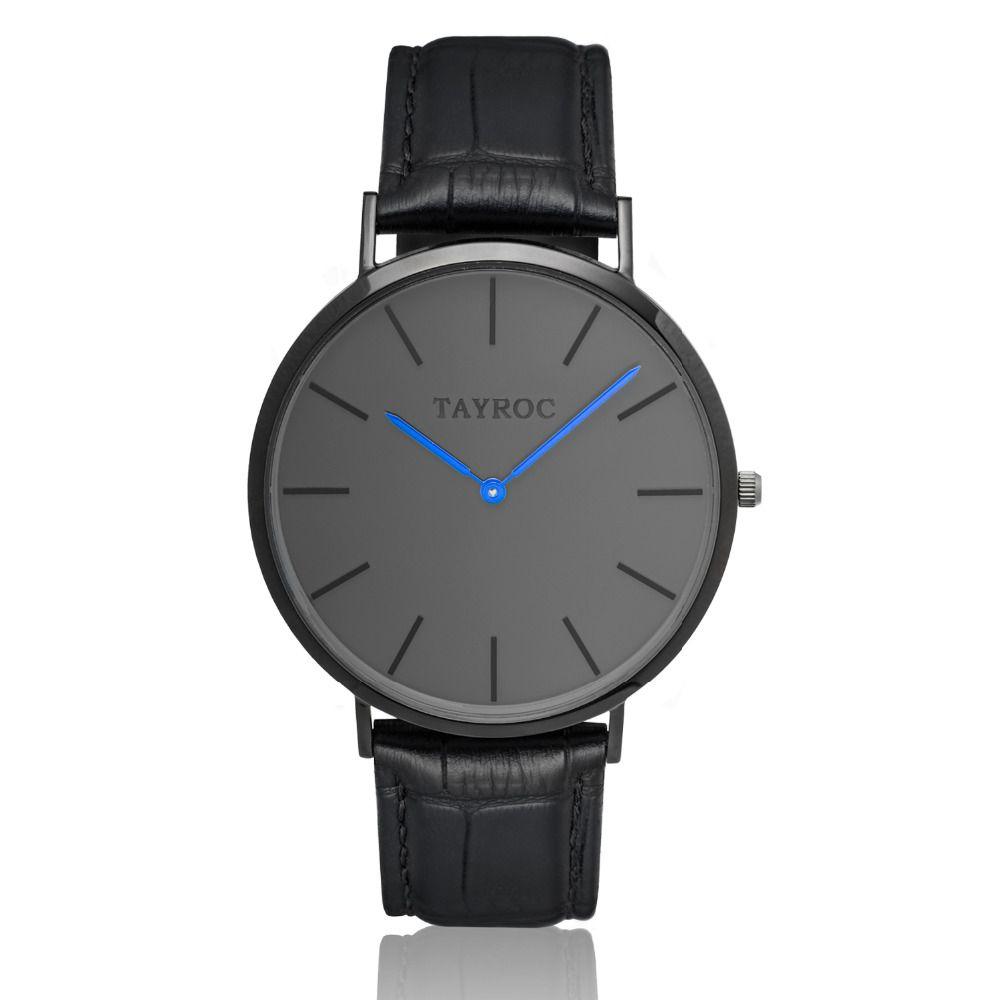 Tayroc ultra-Delgado dial mens relojes Top marca de lujo Cuero auténtico Correa reloj de cuarzo hombres Relogio Masculino