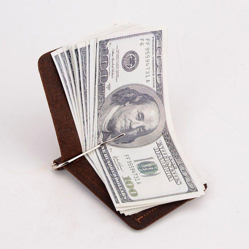 Nouveauté Crazy Horse pinces à billets en cuir véritable 2 pinces ouvertes pliées pour l'argent avec TW2306-1 de poche