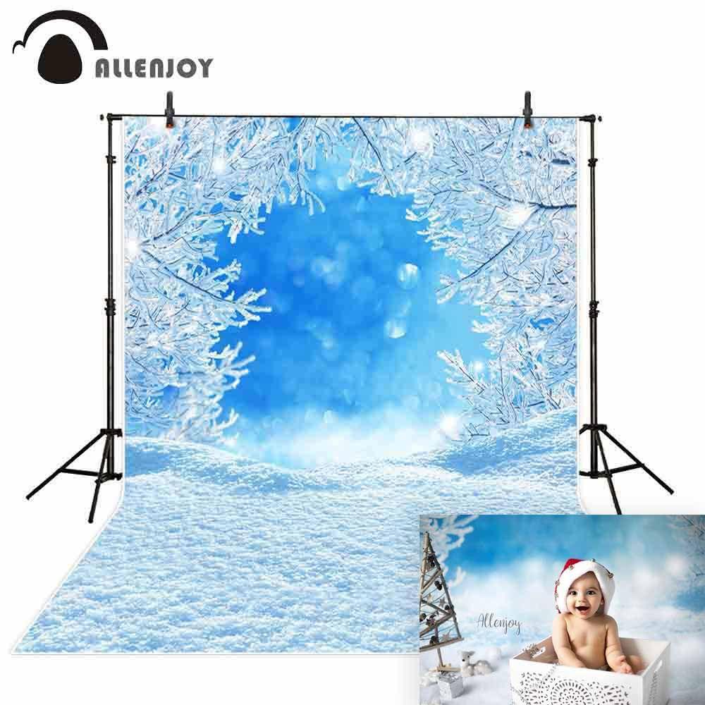 Allenjoy photo backdrops winter blue sky ice tree background photocall photographic photo studio photobooth fantasy
