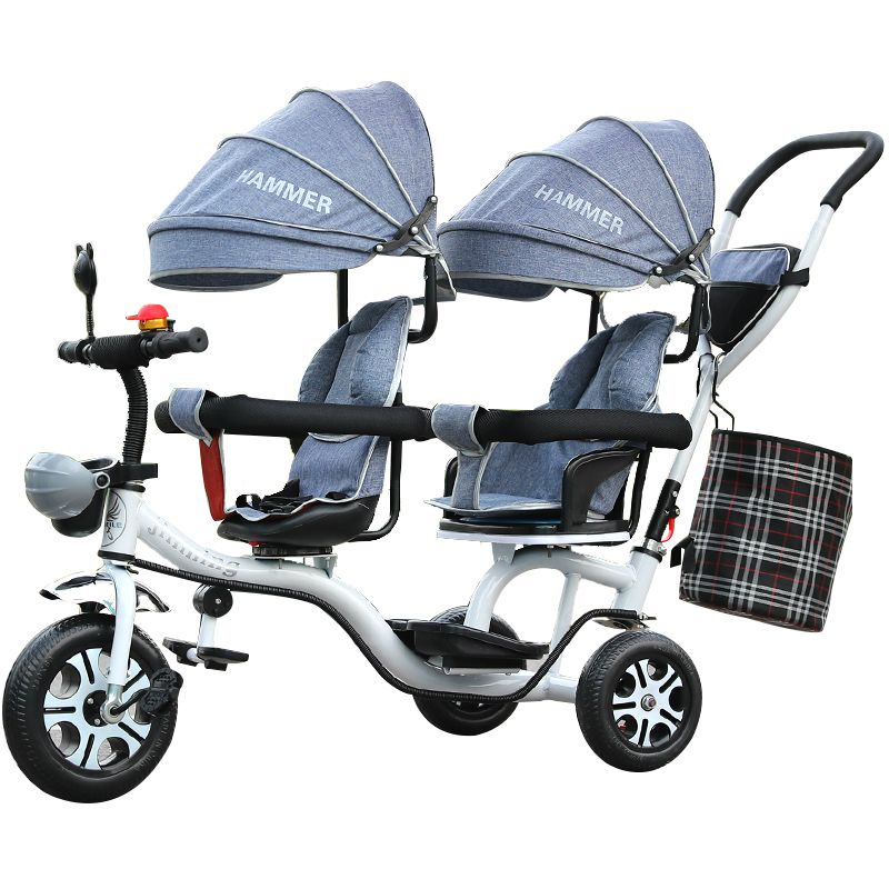 Free ship! Twin tricycle Children's Tricycle / Twin Stroller Double Trolley Swivel Seat rotate seat face to face Many colors