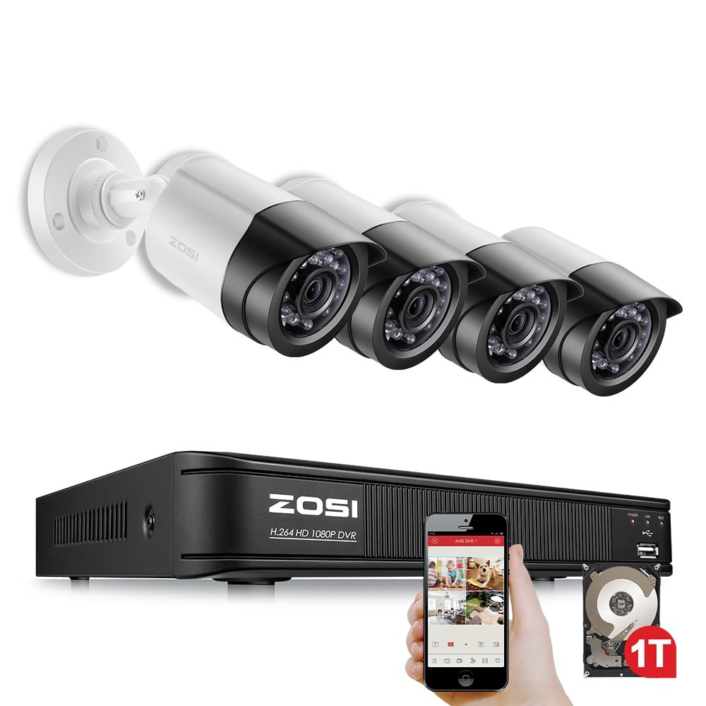 ZOSI 4CH CCTV System 1080P TVI 4CH CCTV DVR with 4PCS 2.0MP CCD Security Camera 1920*1080 CCTV Camera Surveillance System