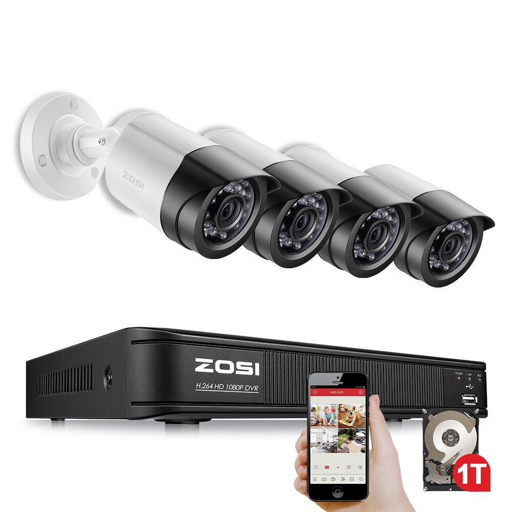 ZOSI 4CH CCTV System 1080P TVI 4CH CCTV DVR with 1TB 4PCS 2.0MP CCD Security Camera 1920*1080 CCTV Camera Surveillance System