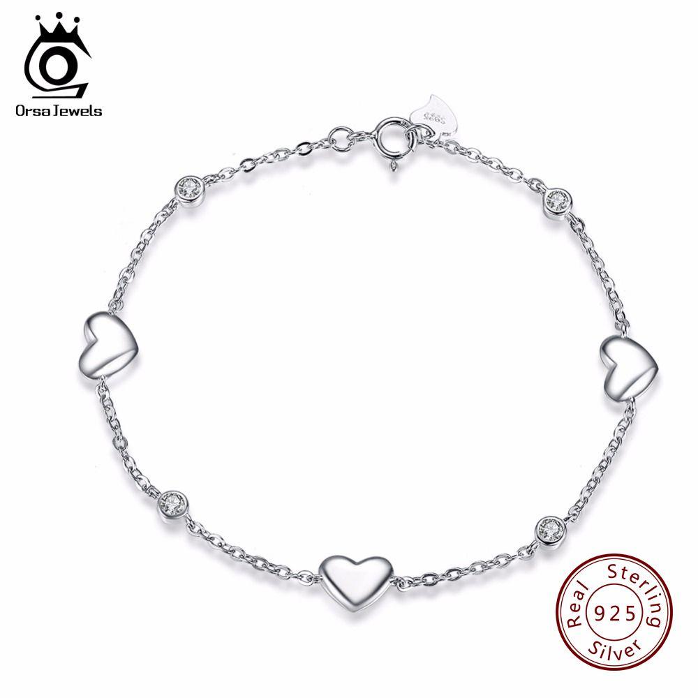 ORSA JOYAUX 925 Sterling Bracelet En Argent pour les Femmes avec 3 pièces Véritable 925 Argent Coeur Charme Parti Bracelets Bijoux SB02
