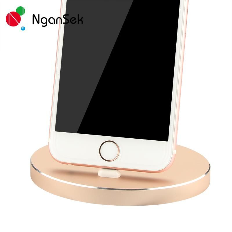 For iPhone 8 7 Plus Charger Dock Aluminum Charger Dock Desktop Adapter Charging Cradle Station For iPhone 5S 6 6S Plus iPod