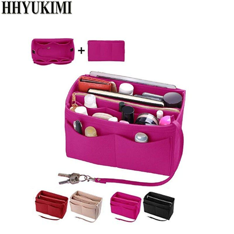 Sac d'insertion de maquillage pour sac à main, sac avec fermeture à glissière en feutre, sac à main intérieur de voyage, sacs à cosmétiques adaptés à divers sacs à main de marque