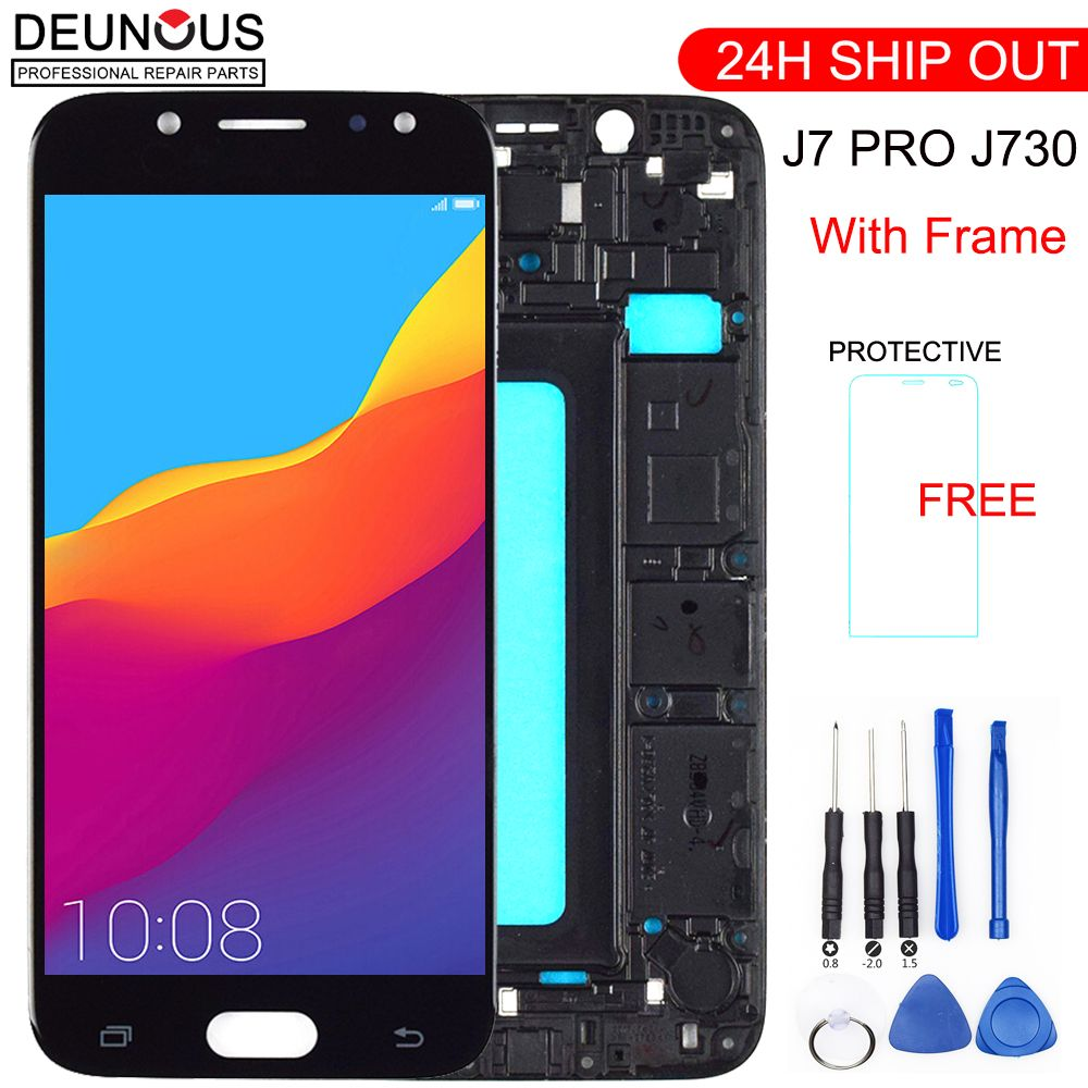 New For Samsung Galaxy J7 Pro 2017 J730 SM-J730F J730FM/DS J730F/DS J730GM/DS LCD Display+Touch Screen Digitizer Assembly Frame