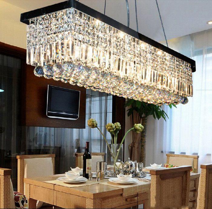 Schwarz rechteckigen restaurant kronleuchter Europäischen führte kristall-kronleuchter moderne einfache restaurant lichter kreative schlafzimmer lampen