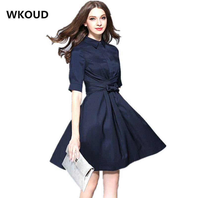 WKOUD 2017 été OL robe demi manches bleu marine solide mince genou longueur robes arc décorer Blouse Vestidos K8061